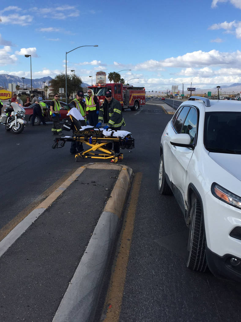 Special to the Pahrump Valley Times Pahrump fire crews prepare to transport a patient following a two-car crash along Highway 160, just south of Basin Avenue on Tuesday Feb 13. Southbound traffic  ...