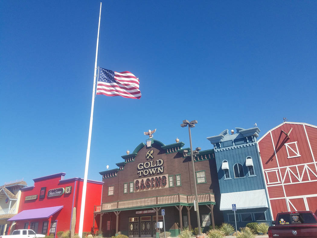 "David Jacobs/Pahrump Valley Times The American flag is shown flying at half-staff Thursday outside the Gold Town Casino in Pahrump."" President Donald Trump ordered that the American flag be flow ..."