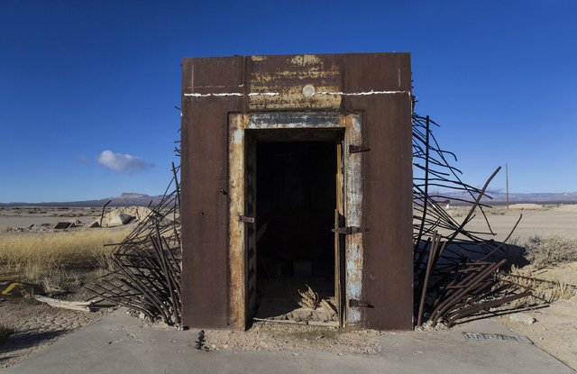 Benjamin Hager/Las Vegas Review-Journal The remains from a vault built to measure the effects from the 1957 nuclear detonation test Priscilla at Frenchman Flat. This photo was taken on Wednesday,  ...