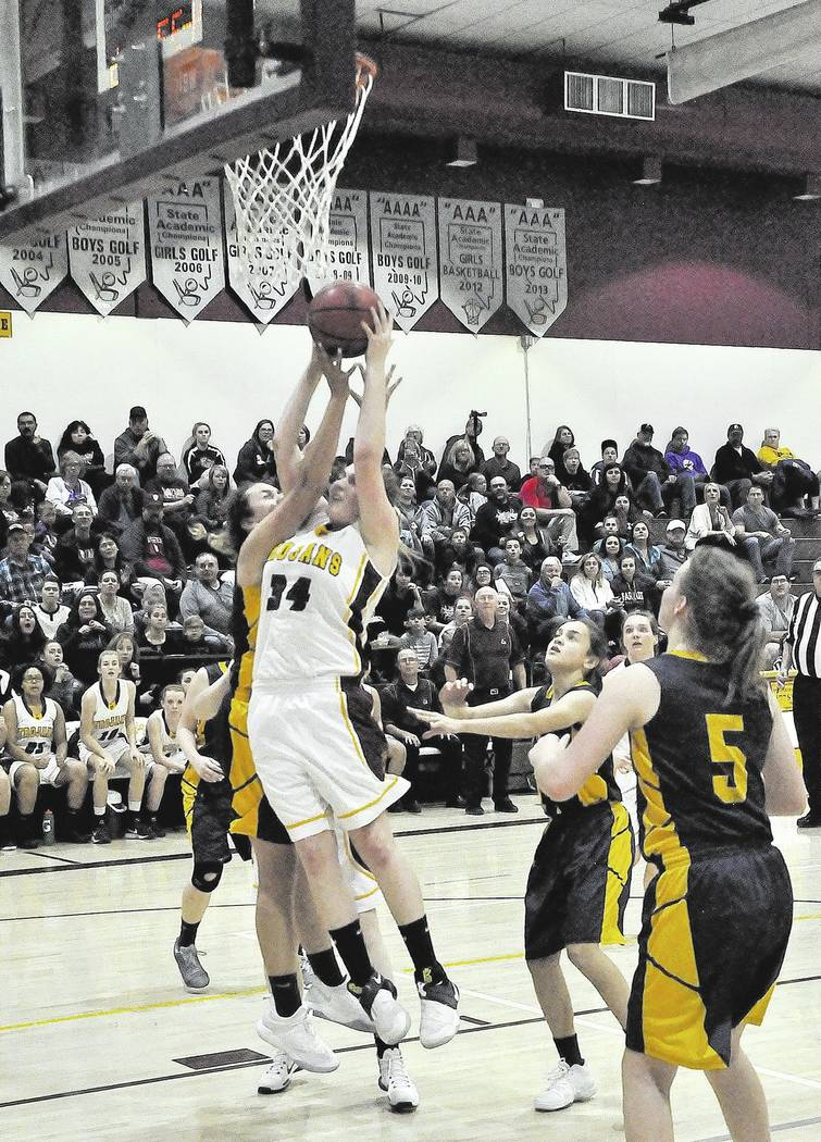 Horace Langford Jr./Pahrump Valley Times Sophomore Kylie Stritenberger developed into an inside force for Pahrump Valley this season, capping her year with 19 points in the Trojans' region tournam ...