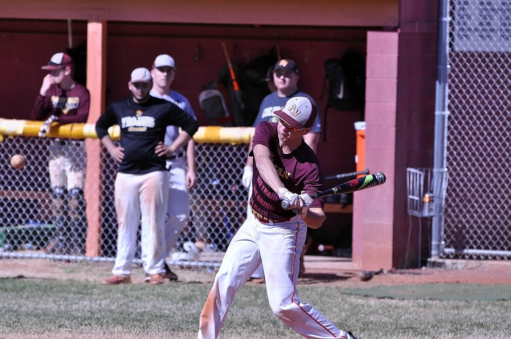 Horace Langford Jr./Pahrump Valley Times Pahrump Valley baseball players and alumni participate in a home run derby Saturday, Feb. 17, before the annual Maroon and Gold game. The Trojans alumni us ...