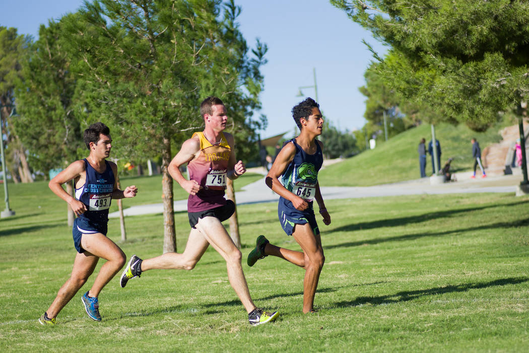 Skylar Stephens/Special to the Pahrump Valley Times Pahrump Valley's Bryce Odegard, center, keeps pace with the leaders during the 2017 state 3A cross-country championships. After winning as a jun ...
