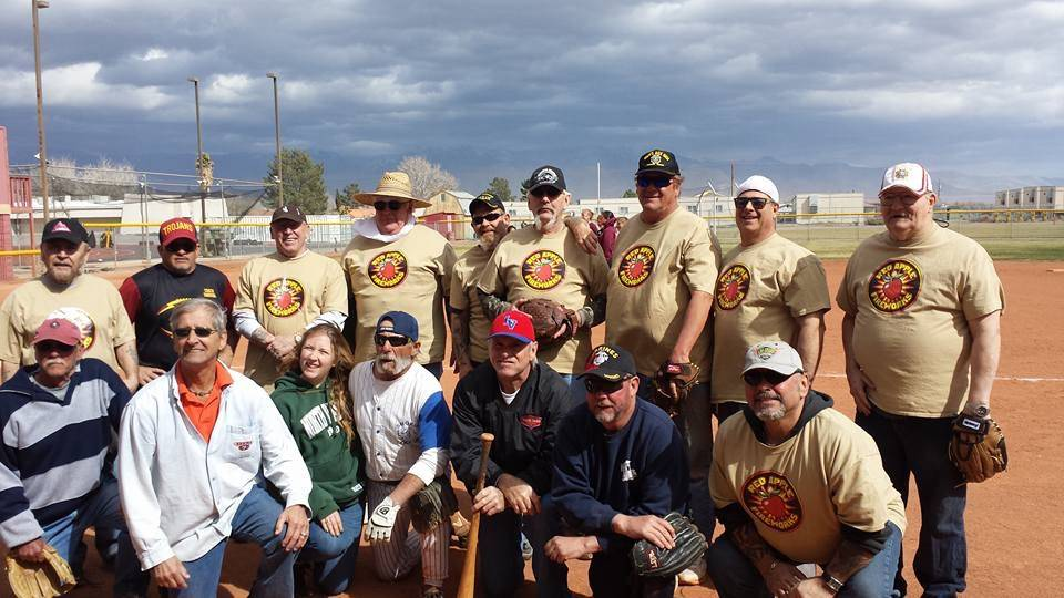 Linda Wright/Special to Pahrump Valley Times Members of the Veterans of Foreign Wars Auxiliary team after the Batting 1.000 softball challenge against the Girls Who Love Softball in March 2017. Th ...