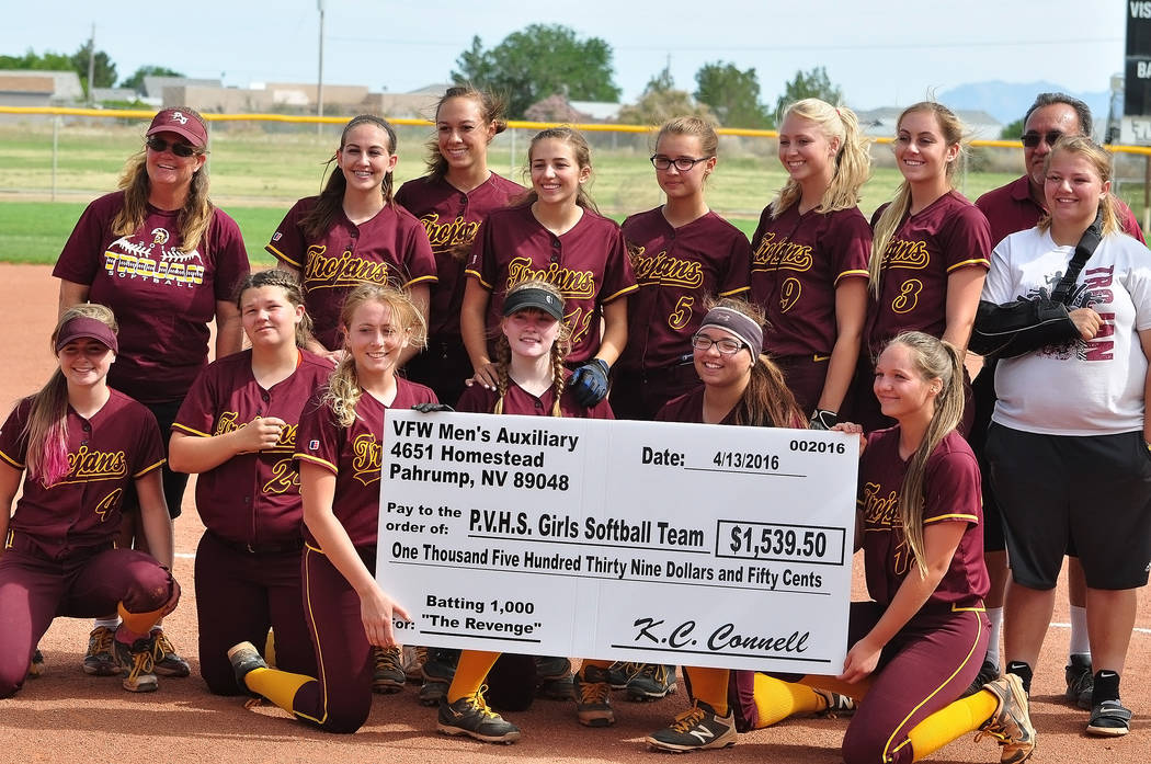 Horace Langford Jr./Pahrump Valley Times The 2016 edition of the Batting 1.000 challenge resulted in the Veterans of Foreign Wars Men's Auxiliary donating $1,539.50 to the Pahrump Valley High Scho ...
