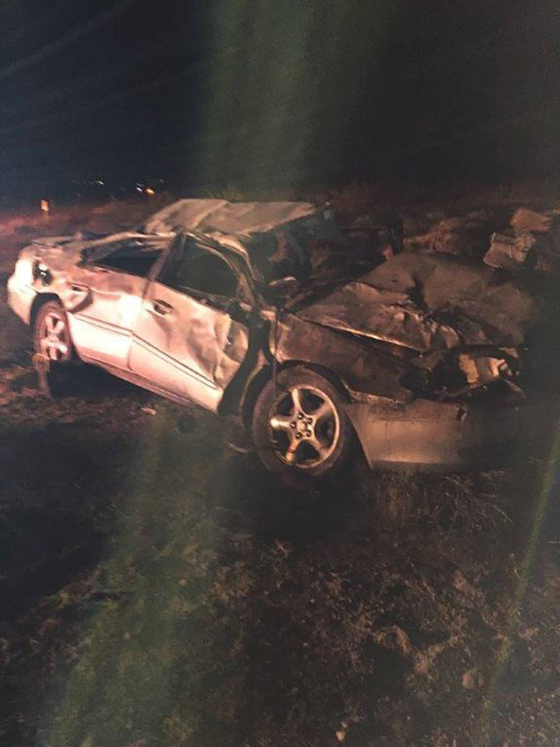 Special to the Pahrump Valley Times A landing zone for Mercy Air-21 was established along north Highway 160 on Thursday after a single-vehicle rollover crash just before 9 p.m. Fires crews were fo ...