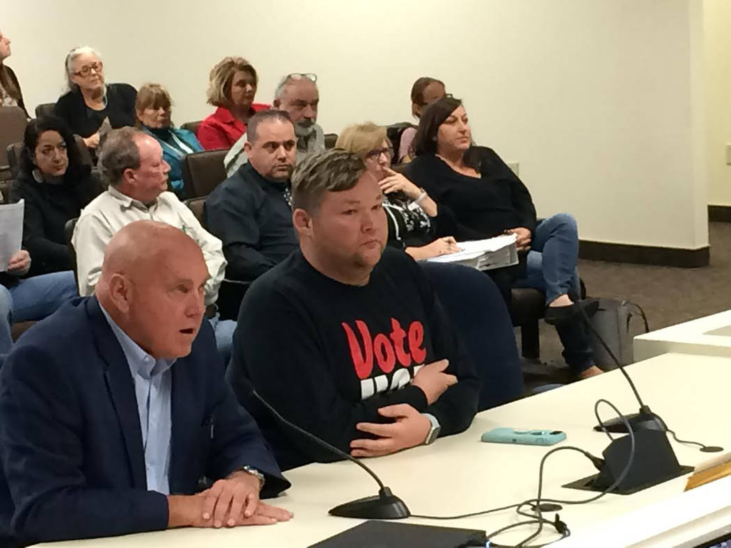 Robin Hebrock/Pahrump Valley Times Dennis Hof, left, and Zack Hames, right, appeared before the Nye County Liquor and Licensing Board on Feb. 20 for a disciplinary hearing pertaining to code viola ...