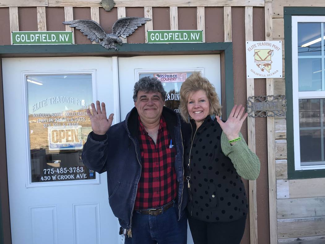 Jeffrey Meehan/Times-Bonanza & Goldfield News Malek (left) and Jody (right) Davarpanah say goodbye to Goldfield on Feb. 14, 2018. The couple came to Goldfield to move the rest of their things  ...