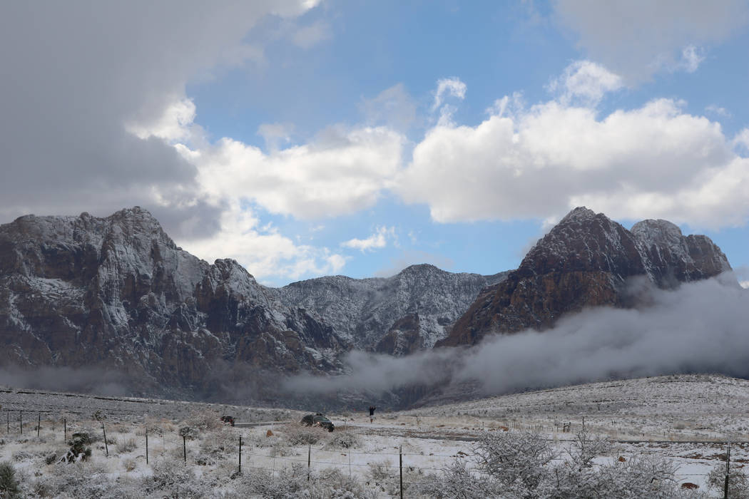 A blanket of snow covers Red Rock Canyon National Conservation Area on Friday, Feb. 23, 2018. (Rochelle Richards/Las Vegas Review-Journal)