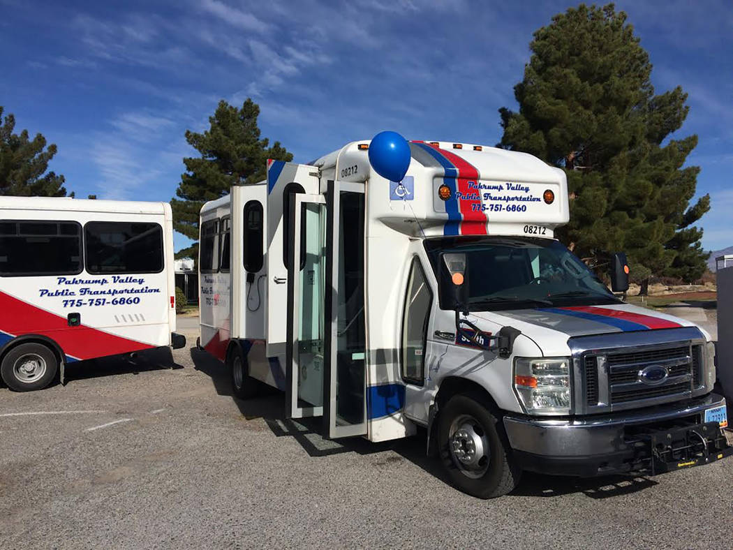 Robin Hebrock/Pahrump Valley Times The PVPT south route bus as shown in a photo taken in early February. The PVPT has a split route system, with a bus specifically for north Pahrump and a bus for  ...