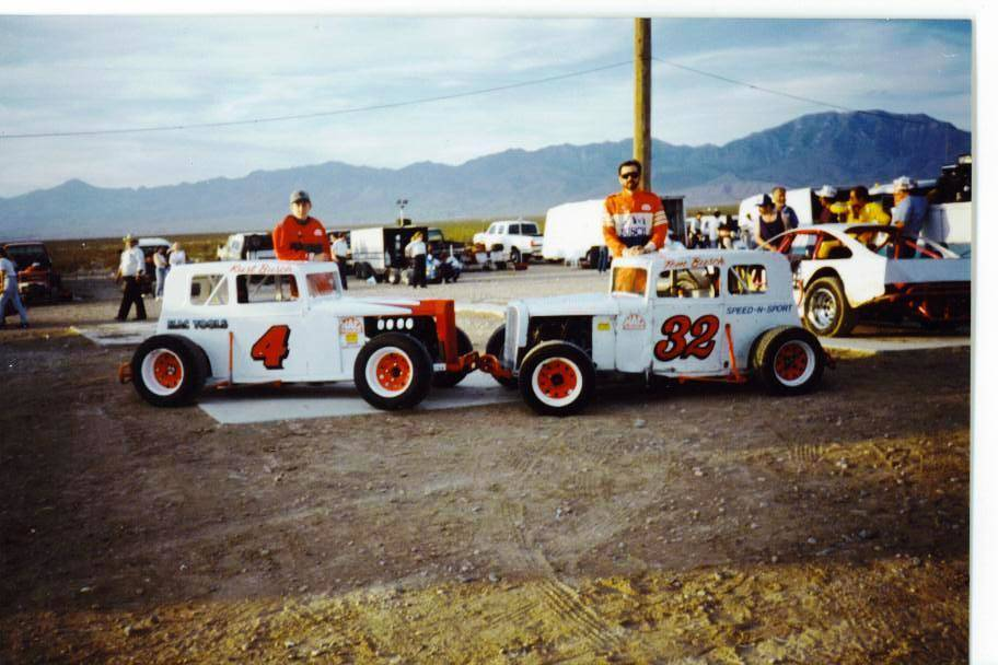 Mike Henle/Special to the Pahrump Valley Times Current NASCAR Monster driver Kurt Busch, left, and his father, Tom, participated in Dwarf Car races at Pahrump Valley Speedway during the 1990s.