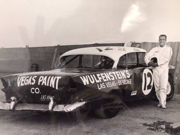 "Mike Henle/Special to the Pahrump Valley Times Ray ""The Stormin' Mormon"" Wulfenstein, who won Craig Road Speedway titles in 1969 and 1971, with his stock car before an event."