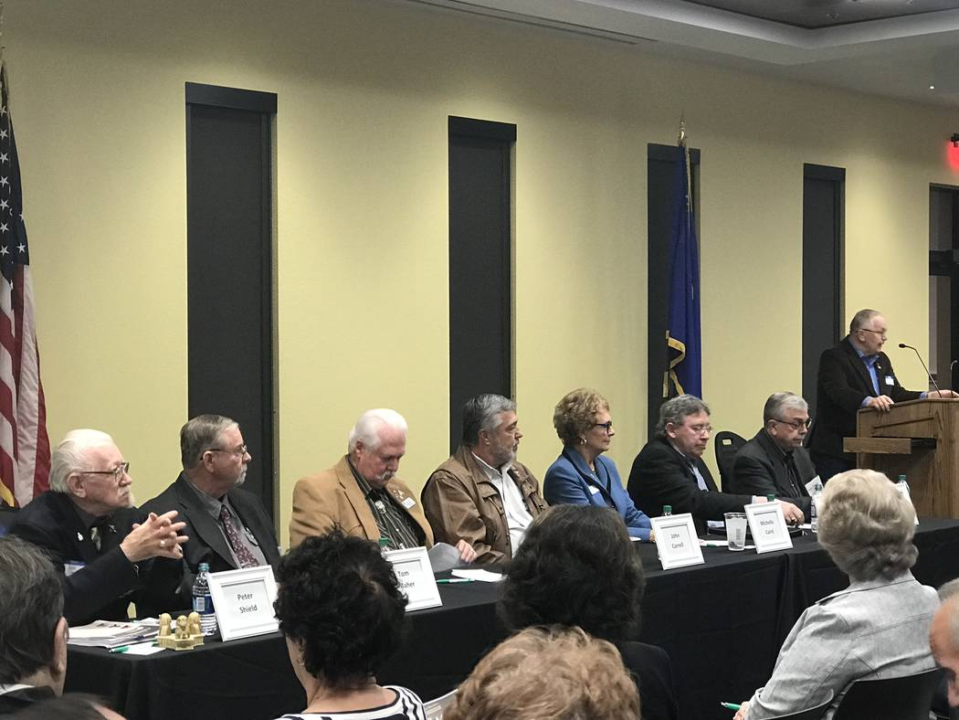 "Jeffrey Meehan/Pahrump Valley Times The seven candidates for Valley Electric Association Inc's ""Candidate Night"" at the cooperative's conference center 800 E. Highway 372 on Feb. 20, 2018. Ballots ..."