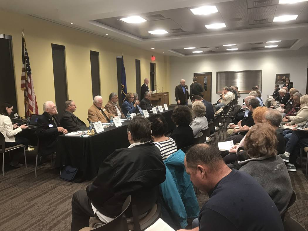 Jeffrey Meehan/Pahrump Valley Times Dozens packed in to hear candidates for Valley Electric Association Inc.'s District 1 board of directors' seat on Feb. 20, 2018. Several questions were asked in ...