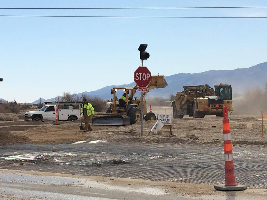 Robin Hebrock/Pahrump Valley Times Construction crews working on Homestead Road at the intersection of Gamebird Road, as shown in this photo, taken Feb. 26 around 1 p.m.