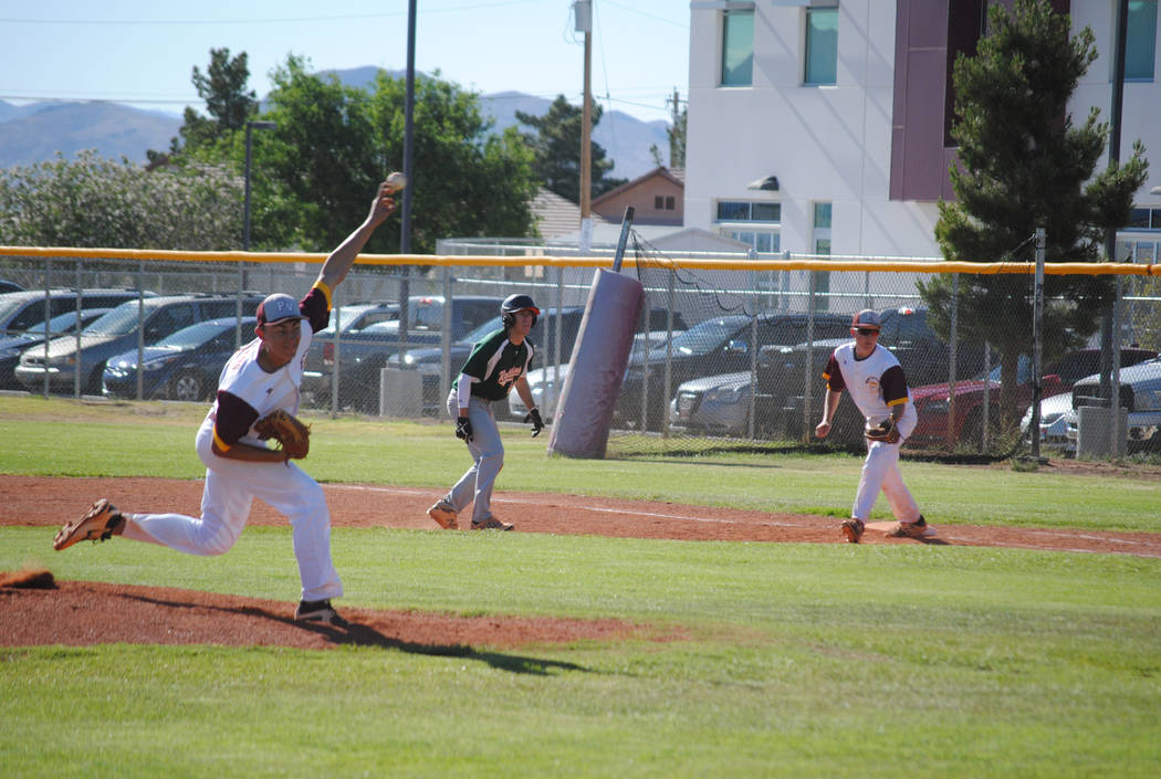 Charlotte Uyeno/Pahrump Valley Times All-Class 3A Southern Region pick and Sunset League MVP Garrett Lucas returns for his senior season as Pahrump Valley's No. 1 starter and a feared batter who h ...