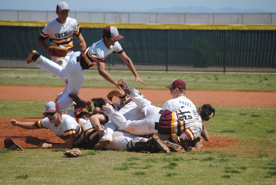 Charlotte Uyeno/Pahrump Valley Times Pahrump Valley baseball players celebrate Willie Lucas' no-hitter to beat Mojave in the Cowboy Classic on April 12, 2017.