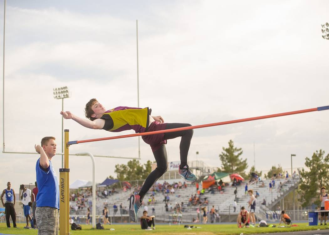 Skylar Stephens/Special to the Pahrump Valley Times Pahrump Valley's Chance Farnsworth clears 6 feet in the high jump at an invitational meet last season at Moapa Valley.
