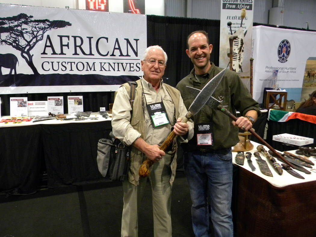 Special to the Pahrump Valley Times Steve Katz, right, of Kilimanjaro Creations, a former Kruger National Park ranger, now living in Florida has successfully followed his dream of creating authent ...