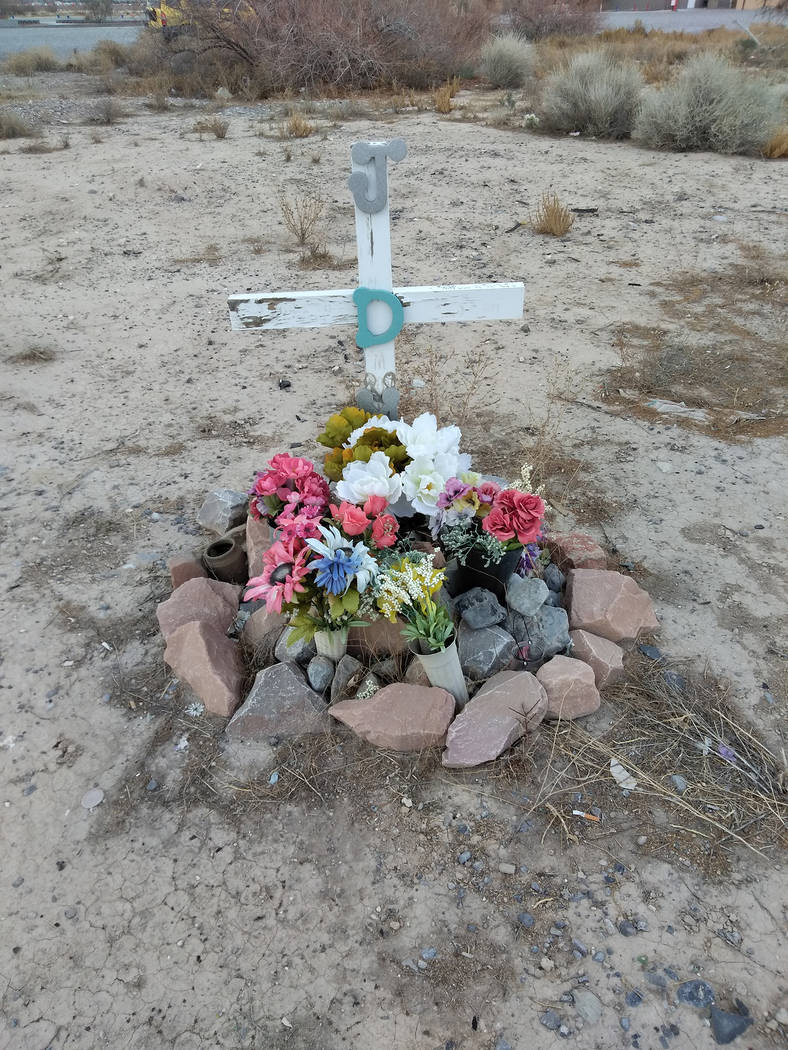 Selwyn Harris/Pahrump Valley Times A roadside marker stands where the Nov. 2006 two-vehicle collision occurred along Homestead Road. The crash killed California resident Jeremy Moon and seriously  ...