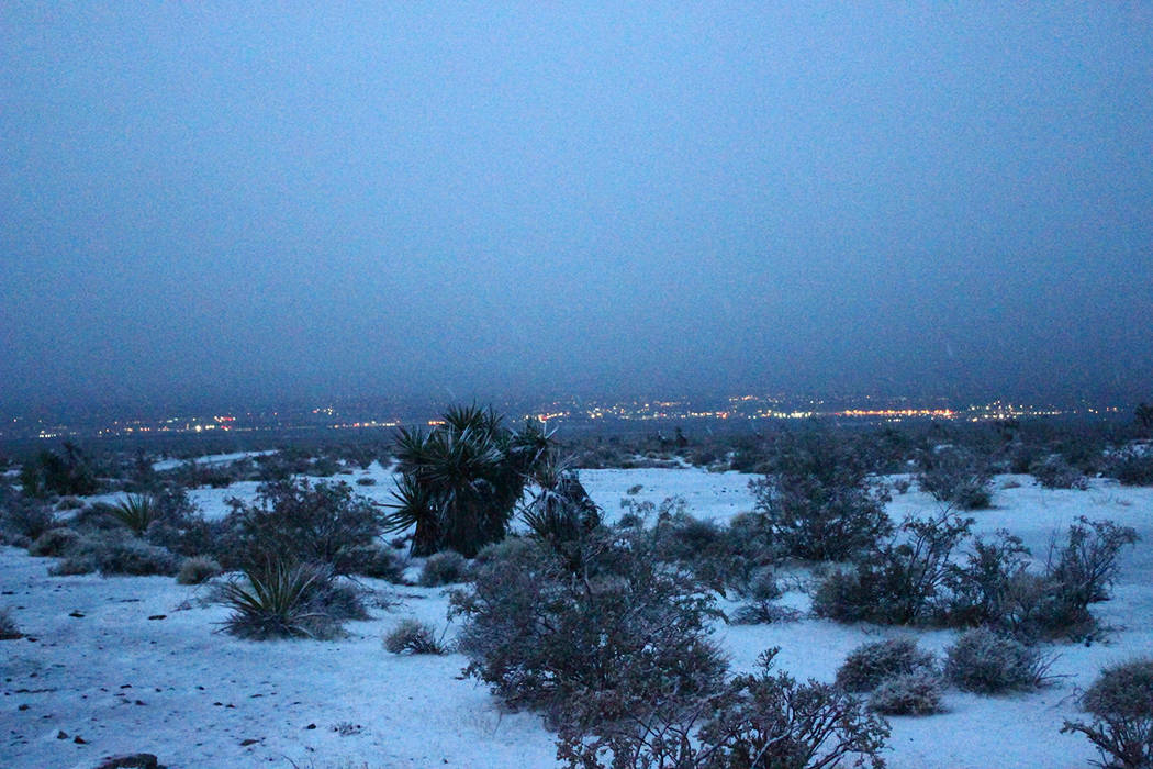 Alan Wertsbaugh/Special to the Pahrump Valley Times This photo shows Pahrump in the distance following the storm that left snow in the region on Tuesday, Feb. 27. The next day, fog moved into the  ...