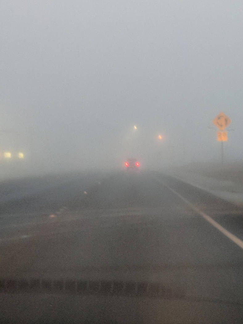 Amber Byard/Special to the Pahrump Valley Times Fog developed in the Pahrump area early on the morning of Wednesday, Feb. 28. A day earlier, blustery, wet weather moved through the region, leaving ...