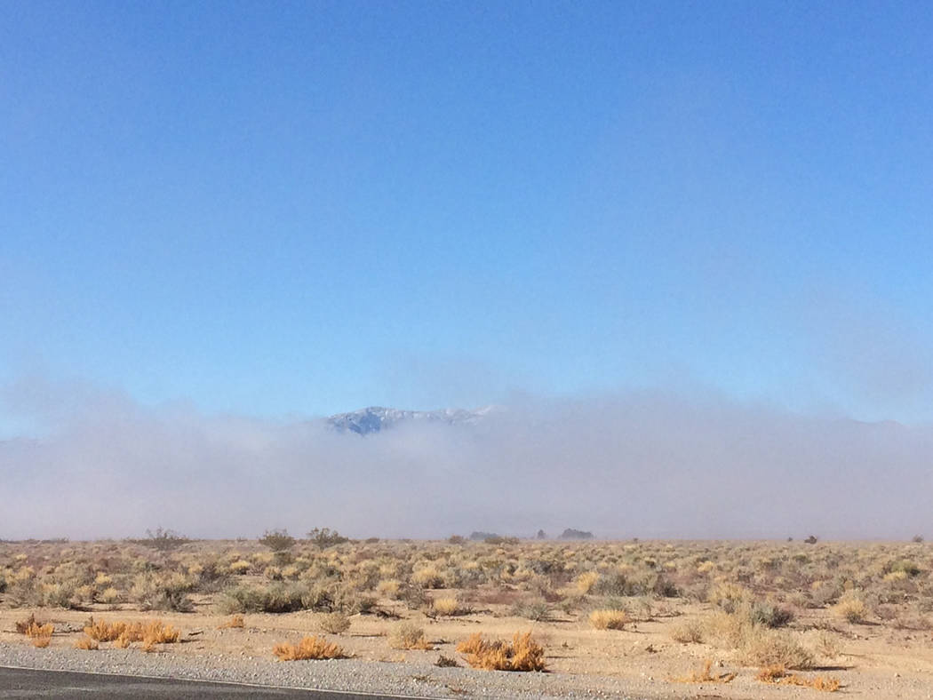 Robin Hebrock/Pahrump Valley Times Fog arrived in the Pahrump area on Wednesday, Feb. 28. This photo was taken in the area of Homestead Road and Turner Boulevard. A day earlier, snow arrived in ot ...