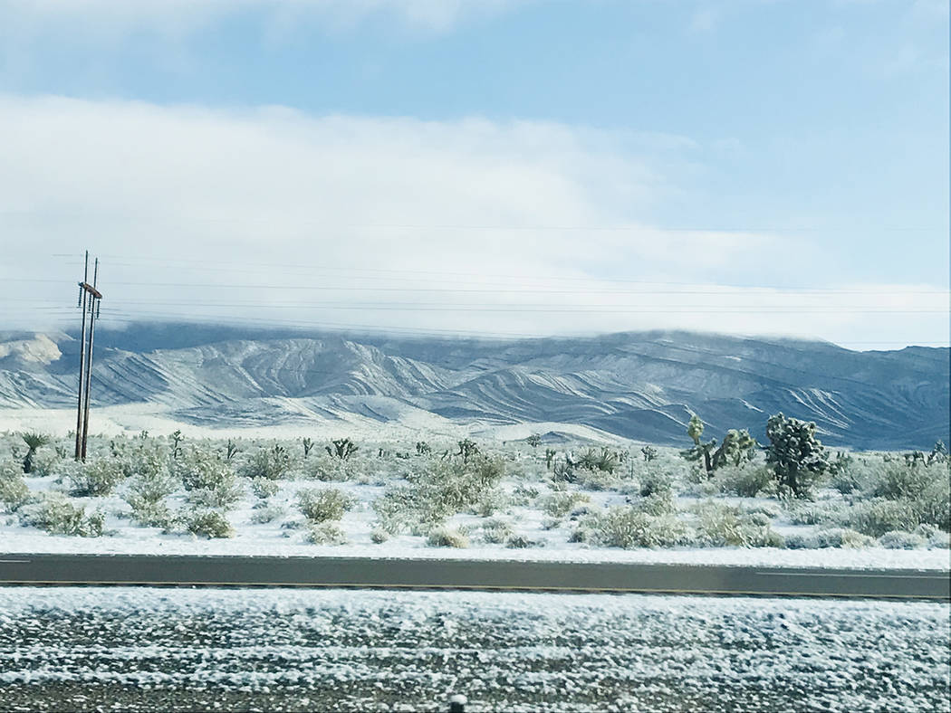 Stacy Frick/Special to the Pahrump Valley Times Snow is shown along Nevada Highway 160 near Mountain Springs on Wednesday, Feb. 28. A storm the previous day moved through the Pahrump region.