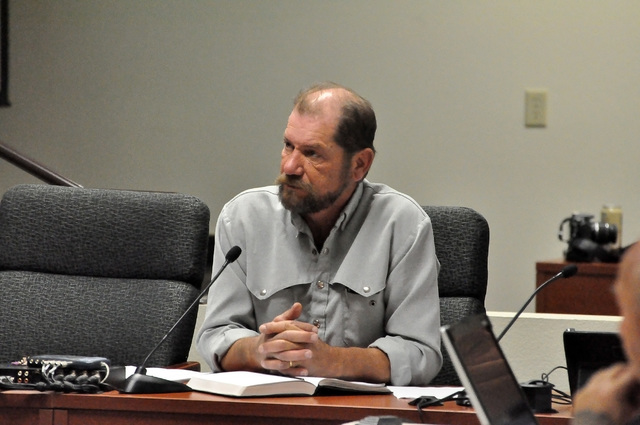 Horace Langford Jr. / Pahrump Valley Times Nye County Water District Governing Board General Manager Oz Wichman's request to have the water board adopt the newest version of the local water manage ...