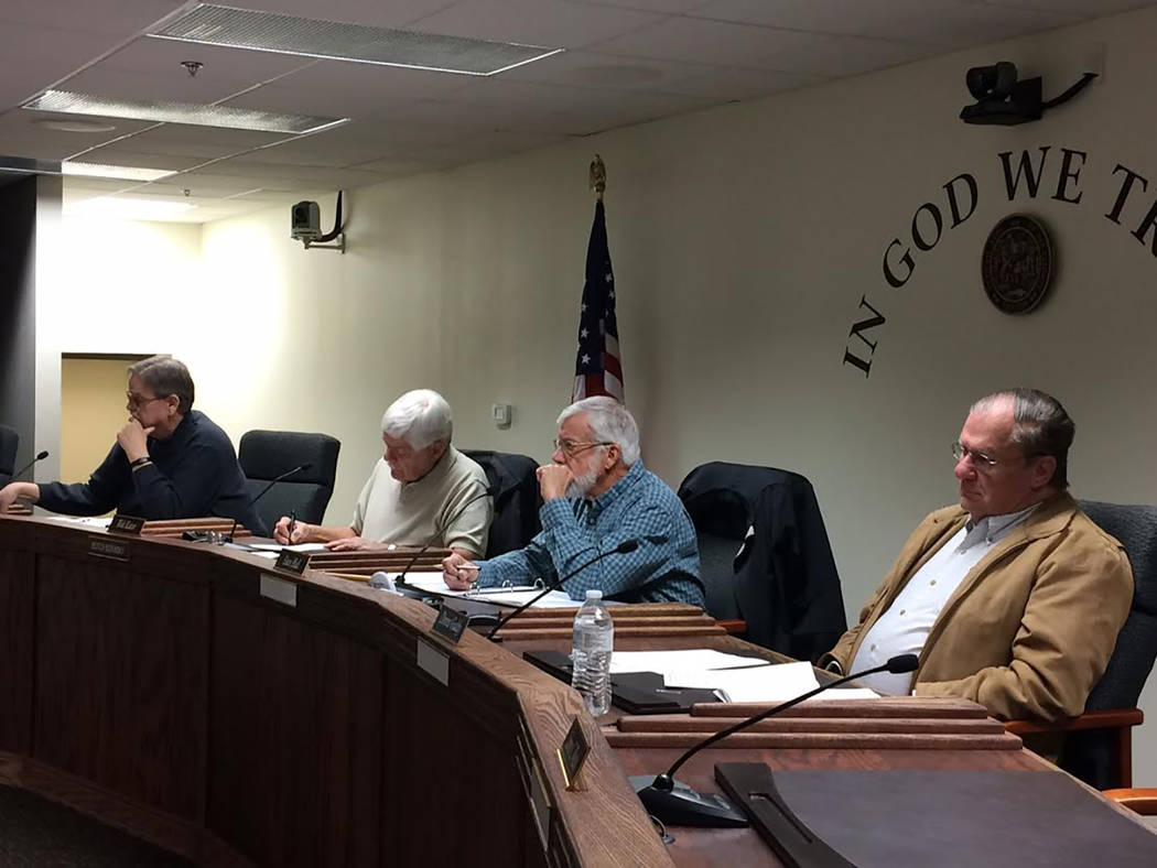 Robin Hebrock/Pahrump Valley Times Members of the Nye County Water District Governing Board are shown attending the board's Feb. 26 meeting. From right to left are Dennis Gaddy, Dave Hall, Walt Ku ...