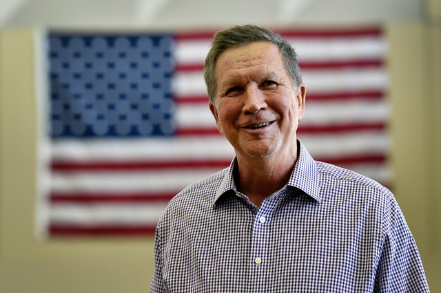 David Becker/Las Vegas Review-Journal Ohio Gov. John Kasich smiles before an interview at Atlantic Aviation in Las Vegas on Thursday, June 11, 2015. He sought the 2016 Republican presidential nimi ...