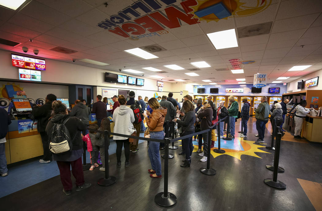 Richard Brian/Las Vegas Review-Journal  Customers stand in line to buy lottery tickets at The Lotto Store at Primm just inside the California line next to the Primm Valley Casino Resorts on Friday ...