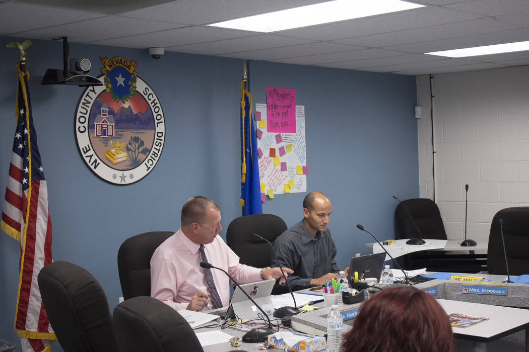 Jeffrey Meehan/Pahrump Valley Times  A physical education teacher at Manse Elementary School in Pahrump called for changes in procedure on how the district handles incidents involving physical con ...