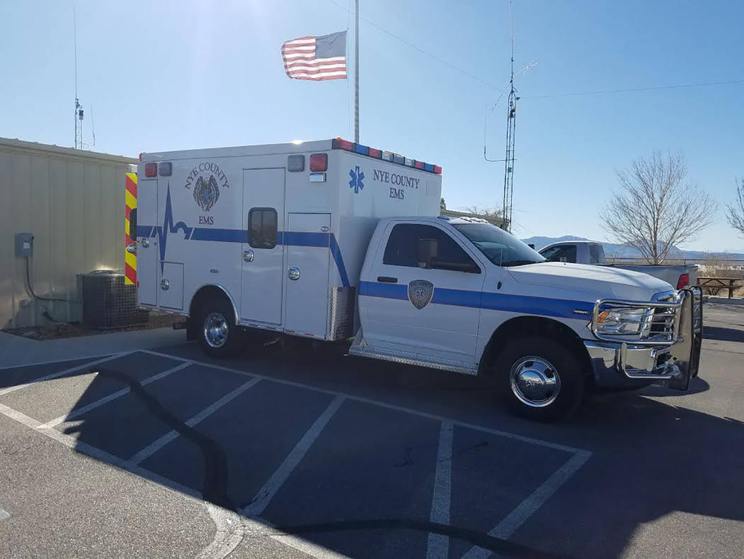 Special to the Pahrump Valley Times The new Tonopah Ambulance Service emergency response vehicle is shown parked in front of Nye County Station 51 in Pahrump. The ambulance will be available for v ...