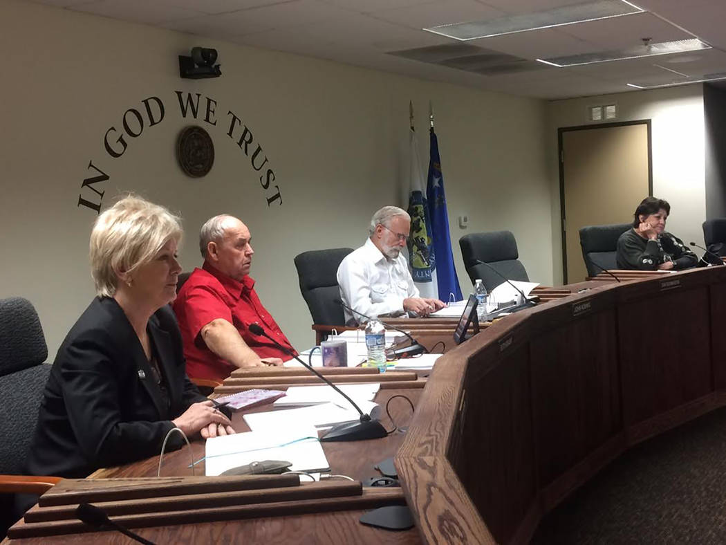 Robin Hebrock/Pahrump Valley Times The Nye County Commission received an update on the Tonopah Ambulance Service on Feb. 20. Pictured from left to right are commissioners Lorinda Wichman, Butch Bo ...