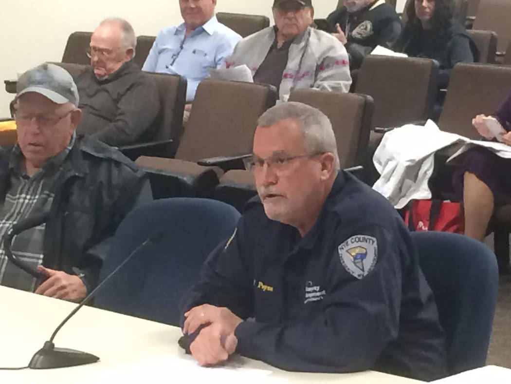 Robin Hebrock/Pahrump Valley Times Nye County Emergency Management Director Vance Payne gave the commission a status update on the Tonopah Ambulance Service in February.