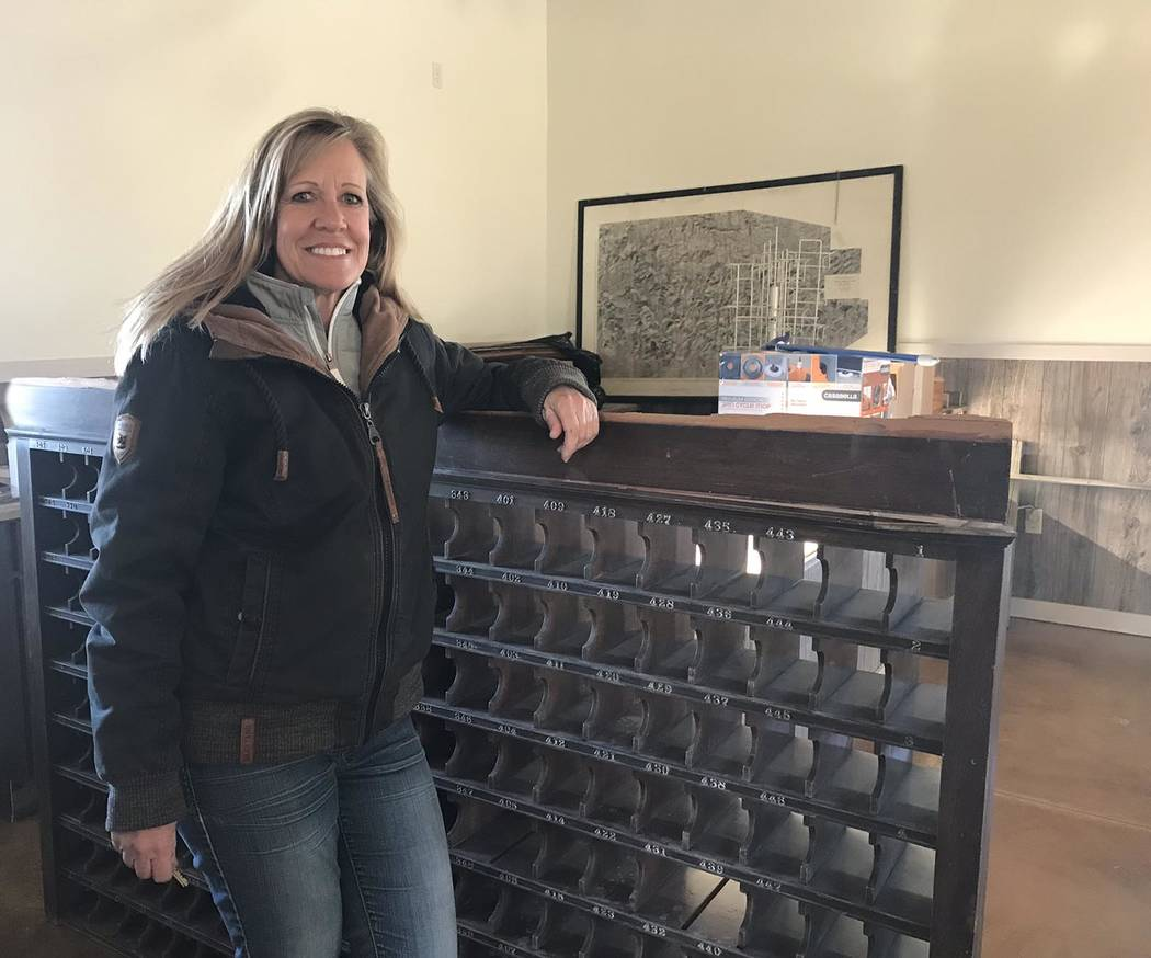 Jeffrey Meehan/Pahrump Valley Times Goldfield resident and business owner Jeri Foutz stands in the Goldfield Visitor Center on Feb. 15, 2018. Foutz is planning a grand opening celebration for the  ...