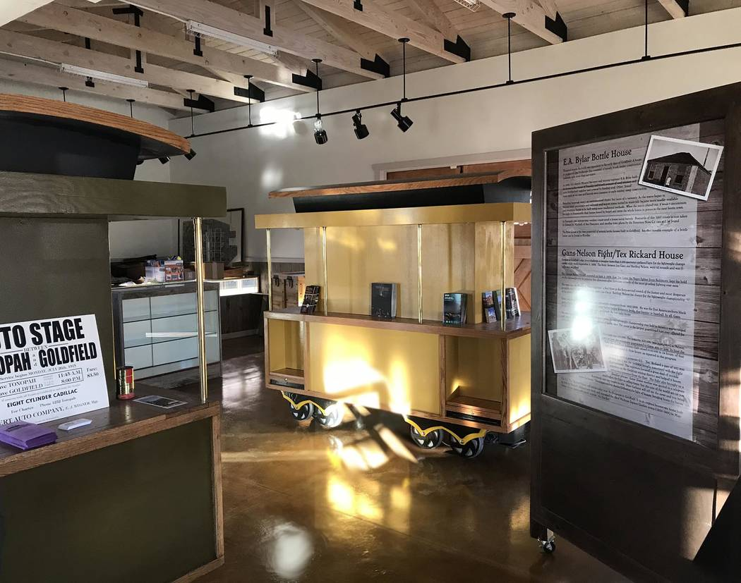 Jeffrey Meehan/Pahrump Valley Times Jeri Foutz, Goldfield resident and business owner, is spearheading the opening of the Goldfield Visitor Center. Pictured is progress seen from the inside as of  ...