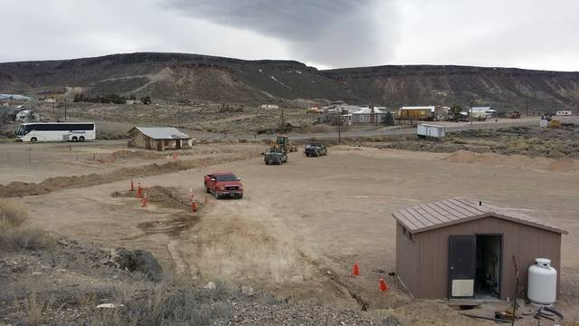 Jeffrey Meehan/Pahrump Valley Times Early efforts on the already completed Goldfield Visitor Center in April 2016. The site now contains a 1,200-square-foot building, which is readying for a sprin ...