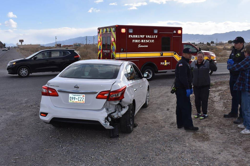 Special to the Pahrump Valley Times No serious injuries were reported following a two vehicle crash Thursday afternoon Feb. 22 along Pahrump Valley Boulevard near Calvada Boulevard. Local emergenc ...