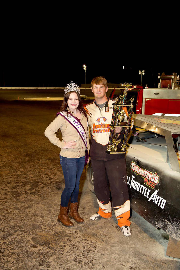 Judy Maughan/Special to the Pahrump Valley Times Trophy girl Shelby Ledford congratulates Austin Kiefer on his victory in the Sam Stringer Memorial Super Stock Shootout on March 3 at Pahrump Valle ...