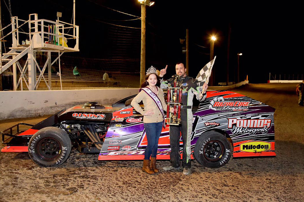 Judy Maughan/Special to the Pahrump Valley Times Brad Pounds of Bakersfield, California, pictured with trophy girl Shelby Ledford, captured first-place money of $3,000 in the Modified class of the ...