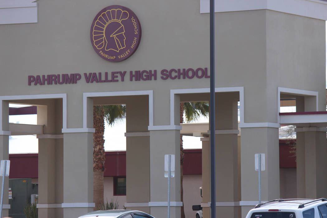 Jeffrey Meehan/Pahrump Valley Times The front entrance of the Pahrump Valley High School on March 1, 2018. Several students spoke at the gymnasium of the school about gun violence and potential ch ...