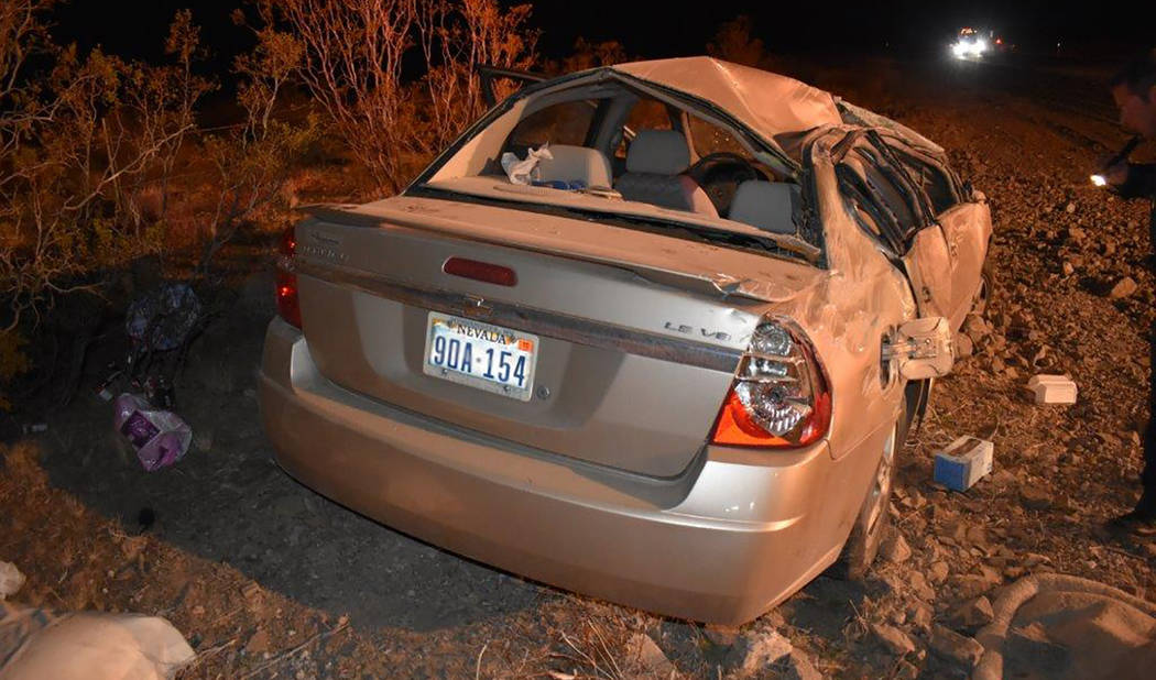 Special to the Pahrump Valley Times  One person was flown to Las Vegas following a midnight, single-vehicle rollover crash along Highway 160 at mile marker 22 on Tuesday March 6. Pahrump Valley Fi ...
