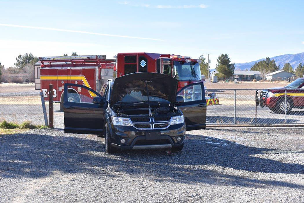 Special to the Pahrump Valley Times A passenger vehicle fire prompted to response of Pahrump fire crews to the 1100 block of East Fremont Street on Tuesday morning March 6. Fire Chief Scott Lewis  ...