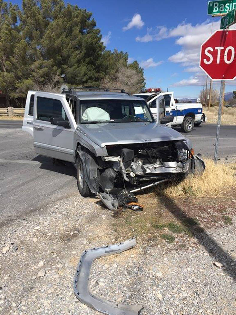 Special to the Pahrump Valley Times Special to the Pahrump Valley Times  One person sustained minor injuries as a result of a two-vehicle T-bone type collision at the intersection of Basin Avenue  ...