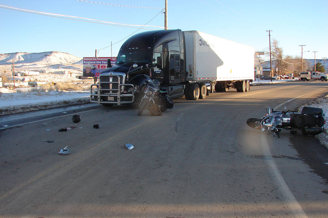 Nevada Highway Patrol The driver and passenger of the Kenworth did not sustain any injuries. The motorcyclist was pronounced dead at the scene in Esmeralda County. The Nevada Highway Patrol is inv ...