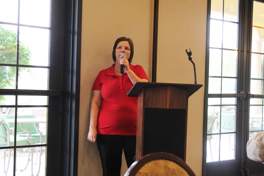 Tom Rysinski/Pahrump Valley Times Salli Kerr, the executive director of Nevada Outreach, addresses the audience after the No To Abuse Golf Tournament on Saturday, March 10, at Mountain Falls Golf  ...