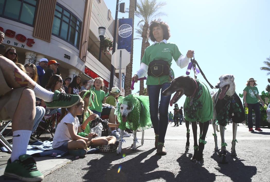 Chase Stevens/Las Vegas Review-Journal Dawn Barr walks her greyhounds, from left, Annie, Shadow, and Gunner, during the St. Patrick's Day parade in Henderson on Saturday, March 11, 2017.