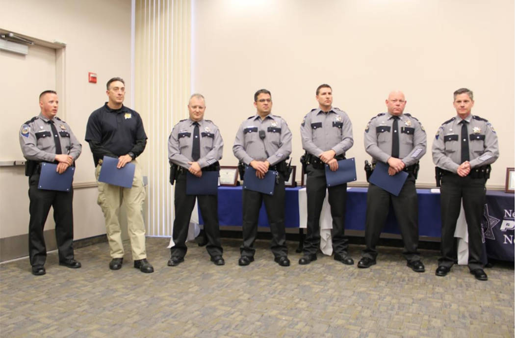 Special to the Pahrump Valley Times Eight troopers were awarded commendations for their response efforts to the shooting and two troopers were awarded the Medal of Valor and Life Saving Medal and  ...