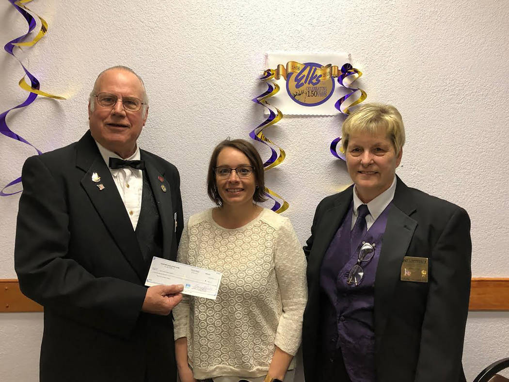 Special to the Pahrump Valley Times On Feb. 27 the Pahrump Elks Lodge donated $500 to the 2018 HOPE Run/Walk, which is set to take place Saturday, March 17. From left to right are Elks member Edwa ...